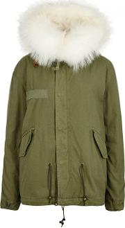 Army Green Fur Lined Cotton Parka Size S
