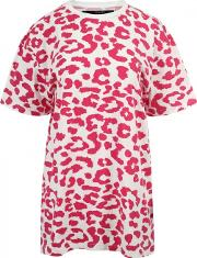 Sibling , Oversized Leopard Print T-shirt Pink