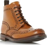 Loake , Bedale Leather Lace Up Brogue Boots, Tan