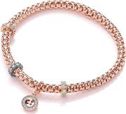 Bouton , 4mm Jewelled Mesh Bracelet, Rose Gold