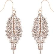 Accessorize , Sparkle Leaf Earrings, Rose Gold