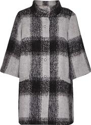 Great Plains , Lowery Check Bell Sleeves Swing Coat, Grey