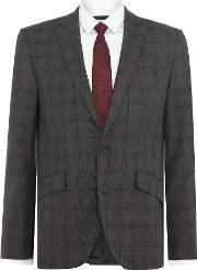 Kenneth Cole , Men's  Douglas Sb2 Slim Fit Check Suit Jacket, Grey