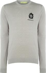 Versace Jeans , Men's  Embroidered Logo Crew Neck Knitted Jumper, Grey