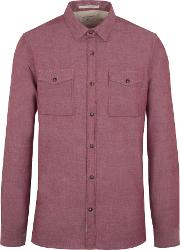 Racing Green , Men's  Beck Semi Plain Long Sleeve Shirt, Red