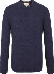 Racing Green , Men's  Report Textured Crew Neck Knit, Navy