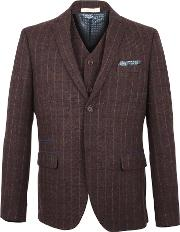 Racing Green , Men's  Digby Wine Check Blazer, Wine