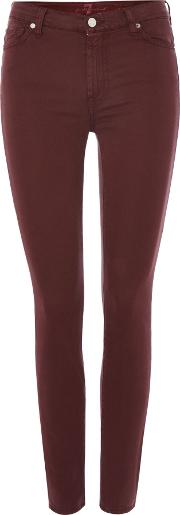 7 For All Mankind , High Waisted Skinny Cropped Jeans In Burgundy, Red