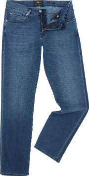 7 For All Mankind , Men's  Lux Slimmy Jeans, Mid Blue