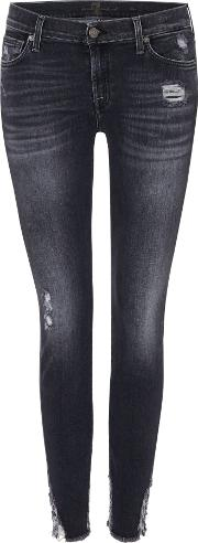 7 For All Mankind , Skinny Jeans In Slim Illusion Washed Black, Washed Black