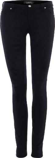 7 For All Mankind , The Skinny Suedette Jeans In Leather Like, Black