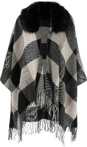 Accessorize , Check Fur Trim Poncho, Black