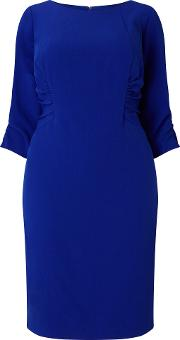 Adrianna Papell , 34 Sleeve Ruched Shift Dress, Blue