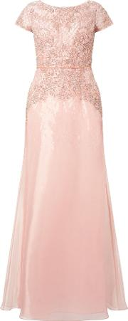 Adrianna Papell , Beaded Organza Gown, Pink