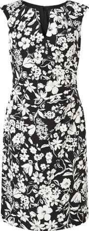 Adrianna Papell , Cap Sleeve Floral Dress, Multi Coloured