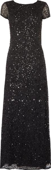 Adrianna Papell , Petite Sequin Gown, Black