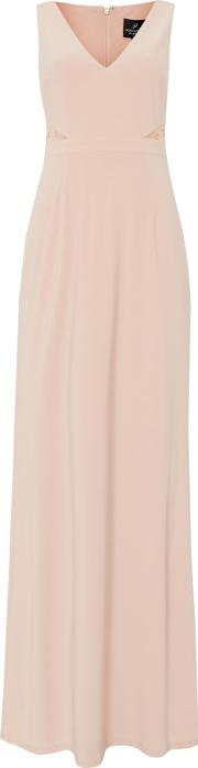 Adrianna Papell , Sleeveless Gown With Lace Inserts, Pink