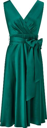 Ariella , Belladonna Satin Fit And Flare Dress, Green