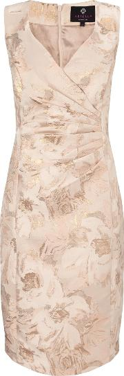 Ariella , Dara Midi Jacquard Dress, Gold