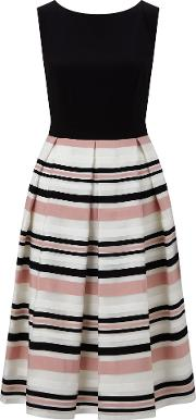 Ariella , Peach Stripe Prom Dress, Multi Coloured