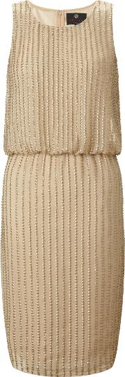 Ariella , Rebecca Sequin Short Shift Dress, Gold