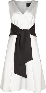 Ariella , Sleeveless Fit And Flare Dress With Belt, Silver