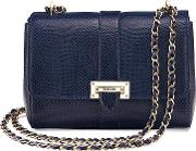 Aspinal Of London , Letterbox Chain Bag, Midnight Blue