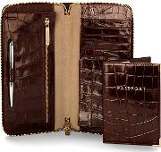 Aspinal Of London , Zipped Travel Wallet With Passport Cover, Amazon Brown