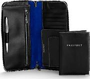 Aspinal Of London , Zipped Travel Wallet With Passport Cover, Black