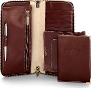 Aspinal Of London , Zipped Travel Wallet With Passport Cover, Cognac
