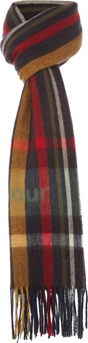 Barbour , Bragar Check Scarf With Logo, Brown
