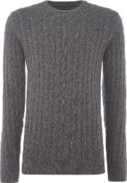Barbour , Men's  Wool Cotton Cable Jumper, Charcoal