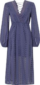 Long Sleeved Embroidered Maxi Lace Back Dress, Royal Blue