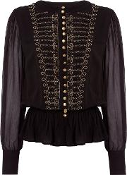 Biba , Embellished Drummer Boy Blouse, Black