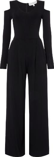 Body Frock , Jumpsuit With Cold Shoulder And Wide Leg, Black