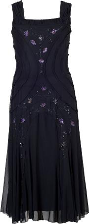 Chesca , Beaded Mesh Dress With Ruched Trim, Navy