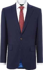 Chester Barrie , Men's  Navy Hopsack 2 Pc Suit, French Blue