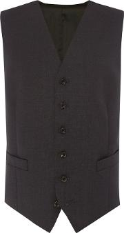 Chester Barrie , Men's  Plain Tailored Fit Waistcoat, Charcoal