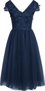 Chi Chi London , 3d Embroidered Midi Dress, Navy