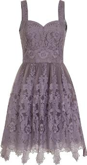Chi Chi London , Baroque Style Skater Dress, Purple