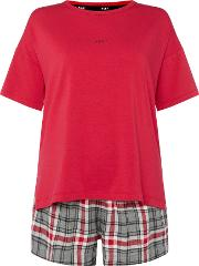 Dkny , Checked Tee And Short Set With Eye Mask, Pink