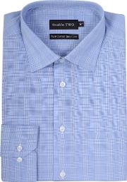 Double Two , Men's  King Size Checked Formal Shirt, Blue