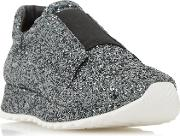Dune Black , Eccentric All Over Glitter Trainers, Pewter