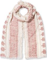 East , Booti Print Open Weave Scarf, Red