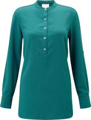 East , Crepe Round Neck Shirt, Green