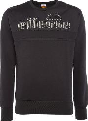 Ellesse , Men's  Reflective Print Logo Crew Neck Sweatshirt, Black