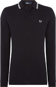 Fred Perry , Men's  Long Sleeve Twin Tipped Polo, Black
