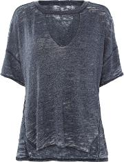 Free People , Jordan T Shirt With Deep V Neck, Navy