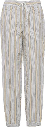 French Connection , Salana Striped Drawstring Linen Joggers, Grey
