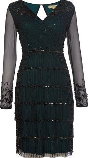 Frock And Frill , Abrianna Long Sleeved V Neck Flapper Dress, Black